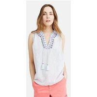 Joules Otille Sleeveless Embroidered Top - Cool Blue, Cool Blue, Size 10, Women