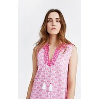 Joules Orianne Sleeveless Embroidered Tunic Dress - Pink, Pink Daisy Foulard, Size 16, Women