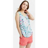 Joules Iris Jersey Woven Mix Sleeveless Top, Bright White, Size 8, Women