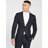 V by Very Check Slim Blazer - Navy, Navy, Size 44, Men