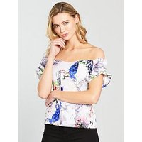 V by Very Puff Detail Arm Bardot Top - Floral Print, Floral Print, Size 16, Women