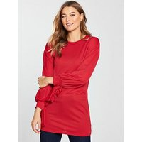 V by Very Cuff Bow Detail Tunic - Red, Red, Size 12, Women