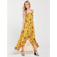 V by Very Tall Dip Back Button Through Jersey Dress - Mustard, Mustard Floral, Size 10, Women