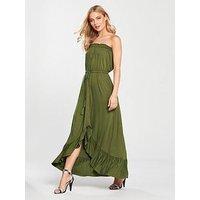 V by Very Dip Back Button Through Jersey Dress - Khaki, Khaki, Size 24, Women
