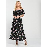 V by Very Tiered Jersey Floral Maxi Dress - Black, Black Floral, Size 10, Women