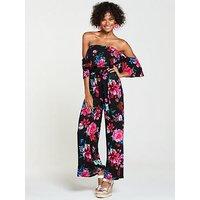 V by Very Petite Bardot Frill Jersey Jumpsuit - Floral Print, Print, Size 8, Women