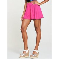 V by Very Cotton Pom Trim Shorts - Pink, Pink, Size 14, Women