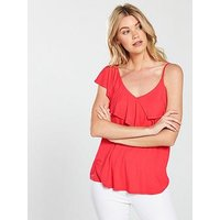 V by Very Asymmetric Swing Vest - Red, Coral, Size 20, Women