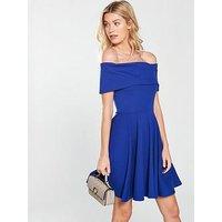 V by Very Bardot Jersey Skater Dress - Blue, Electric Blue, Size 18, Women