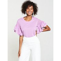 V by Very Chiffon Frill Sleeve T-shirt - Lilac, Lilac, Size 20, Women
