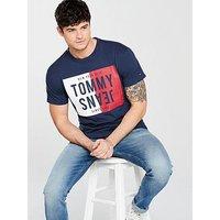 Tommy Jeans Split Box T-Shirt, Black Iris, Size M, Men