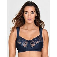 Miss Mary of Sweden Miss Mary Of Sweden Soft Cup Bra With Padded Side Support, Navy, Size 42F, Women