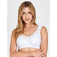 Miss Mary of Sweden Miss Mary Of Sweden Front Fastening Comfort Cotton Bra, White, Size 48Dd, Women