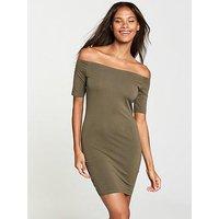 V by Very Basic Bardot Jersey Dress - Khaki, Khaki, Size 14, Women