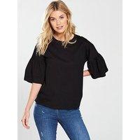 V by Very Frill Sleeve Slouchy T-Shirt - Black , Black, Size 16, Women