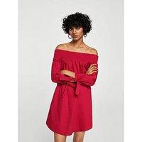Mango Off Shoulder Poplin Dress, Red, Size S, Women
