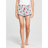 V by Very Embroidered Beach Shorts - White, White, Size 12, Women