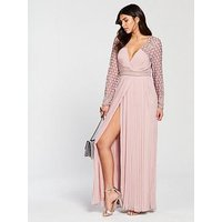 Frock And Frill Belina Long Sleeve Pleated Skirt Maxi Dress