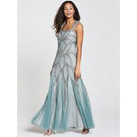 Frock And Frill Bradi Embellished Sequin Maxi Dress - Blue