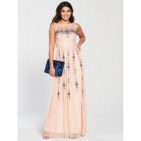 Frock and Frill Berthe Rose Embellished Maxi Dress, Rose, Size 10, Women