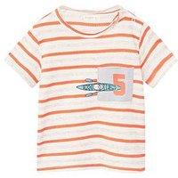 Mango Baby Boys Textured Stripe T-Shirt, Red, Size 9-12 Months