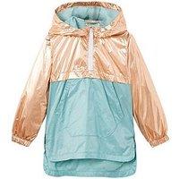Mango Girls Metallic Hooded Jacket, Blue, Size 5-6 Years, Women