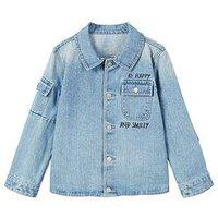 Mango Boys Slogan Pocketed Denim Jacket, Light Blue, Size Age: 6-7 Years