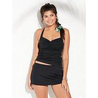 Seafolly Twist Halter Tankini Top - Black, Black, Size 8, Women