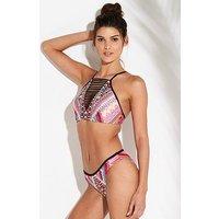 Seafolly Desert Tribe High Neck Bikini Top - Print, Print, Size 14, Women