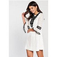 Little Mistress Crochet Trim Mini Dress - White, White, Size 18, Women