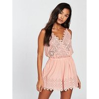 Seafolly Broderie Playsuit - Nude, Nude, Size S, Women