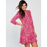 V by Very Choker Three Quarter Sleeve Jersey Wrap Dress, Pink Print, Size 16, Women