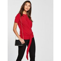 V by Very Wrap Front T-Shirt - Red , Red, Size 16, Women