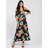 V By Very Petite Cold Shoulder Ruched Sleeve Jersey Maxi Dress