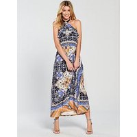 V by Very Halter Neck Printed Jersey Maxi Dress - Multi, Scarf Print, Size 12, Women