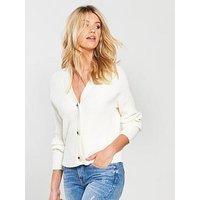 V by Very Rib Detail Button Short Cardigan - Ecru, Ecru, Size 16, Women