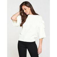 V by Very Bow Sleeve Jumper - Ivory, Ivory, Size 14, Women