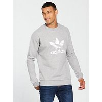 adidas Originals Trefoil Crew Neck Sweat, Medium Grey Heather, Size M, Men