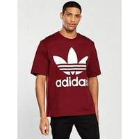 adidas Originals Oversized T-Shirt, Burgundy, Size S, Men
