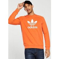 adidas Originals Trefoil Crew Neck Sweatshirt, Orange, Size S, Men
