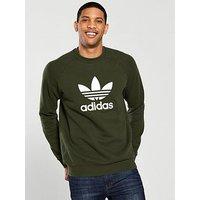 adidas Originals Trefoil Crew Neck Sweat, Khaki, Size L, Men