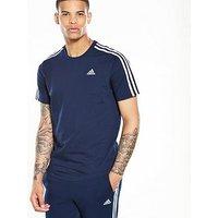 adidas Essential 3S T-Shirt, Navy, Size S, Men