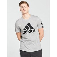 adidas Logo T-Shirt, Medium Grey Heather, Size L, Men