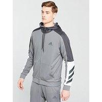 adidas Basketball Full Zip Hoodie, Grey, Size 2Xl, Men