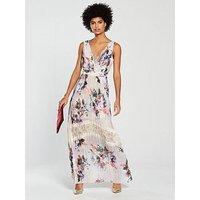 Little Mistress Floral Print Pleated Maxi Dress - Multi