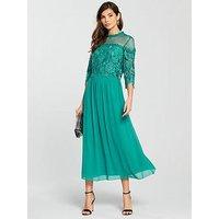 Little Mistress Crochet Top Woven Midi Dress - Jade