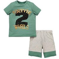 Mini V by Very Boys 2 Piece Forever Wheels Slogan Jersey Outfit - Multi, Multi, Size Age: 6-9 Months