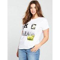 Violeta Plus Size Printed T-shirt, White, Size 16, Women