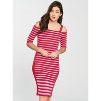 Guess Guess Ruth Ribbed Dress - Red/Pink Stripe, Red/Pink, Size S, Women
