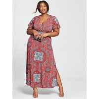 V by Very Curve Jersey Maxi Dress - Red Print, Red Print, Size 28, Women